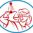 Stock Photo: Lady holding up scales of justice