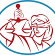 Lady holding up scales of justice - Stok fotoraf