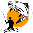 Fly fisherman catching trout — Stock Photo #2449910