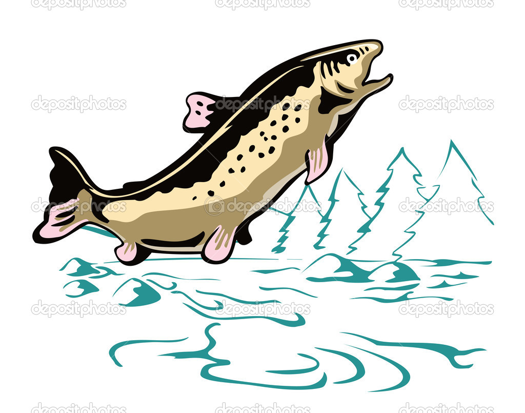 Fish jumping out of water clipart