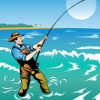 Fly fisherman surf casting - Stock Photo