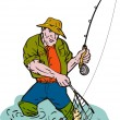 Stock Photo: Fly fisherman catching trout