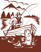 Fly fisherman catching trout on boat — Stock Photo