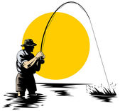 Fly fisherman catching trout — Stock Photo