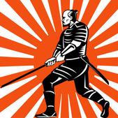 Samurai krieger schwert kämpfen haltung — Stockfoto