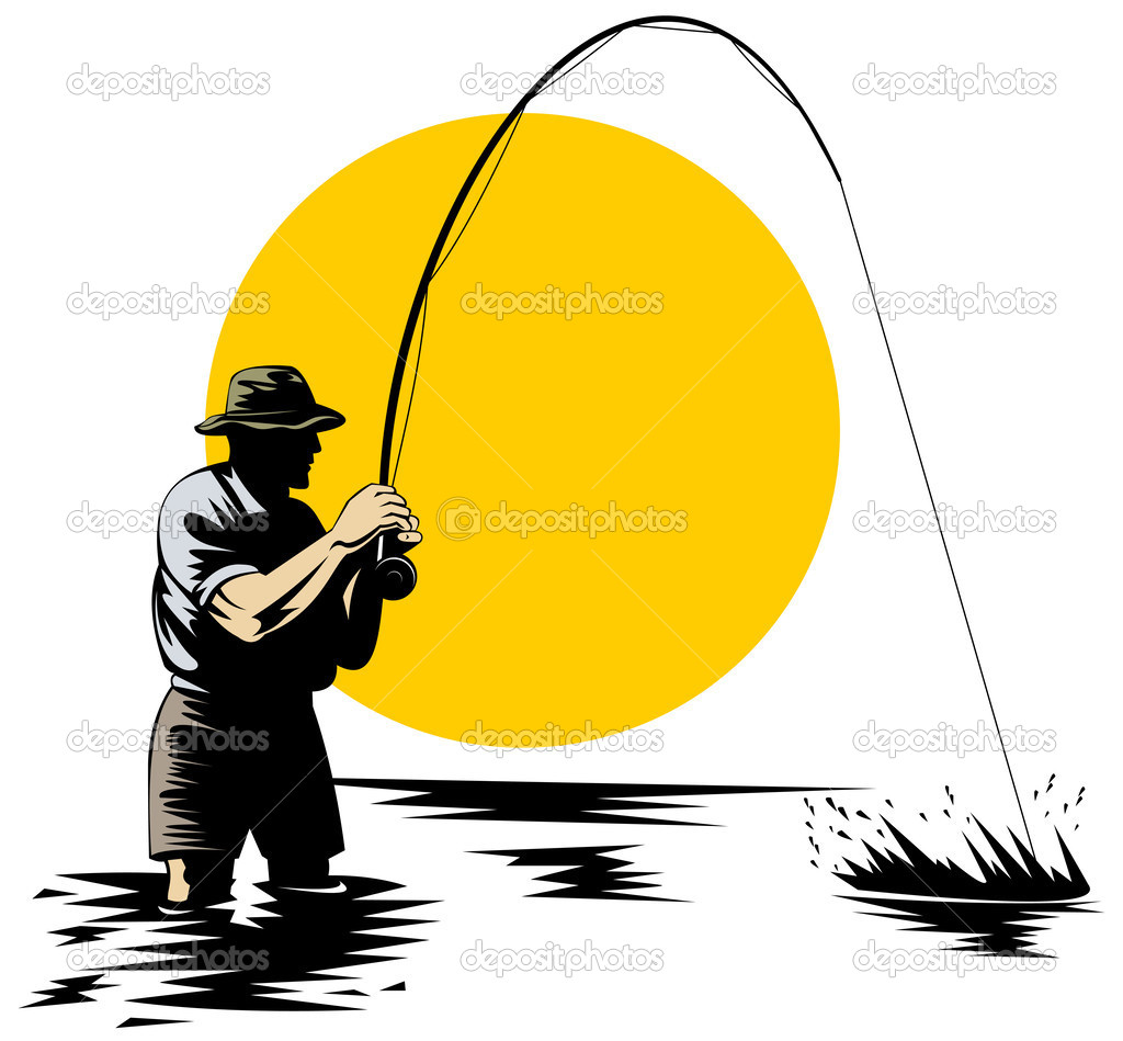Illustration of a Fly fisherman catching trout  — Stock Photo #2450875