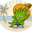 Agave plant cartoon sombrero hat martini beach - Stock Photo
