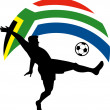 Soccer football player ball flag south africa — Stock Photo