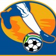 Soccer player ball flag south africa — Stock Photo #2589751