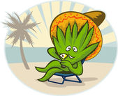 Agave plant cartoon sombrero hat martini beach — Stock Photo