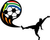 Soccer player kikcing ball with south africa flag — Stock Photo