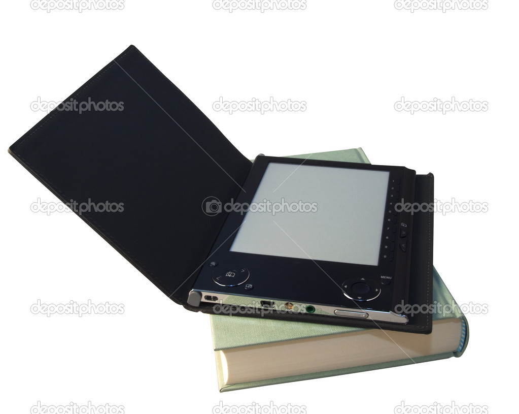 An eBook reader with open cover over a book  Stock Photo #1990819