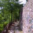 Stok fotoğraf: Wall of old city in wood