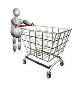 3D puppet with shopping cart — Stok fotoğraf