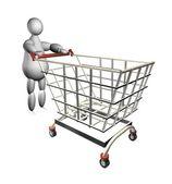 3d marionet met winkelwagen — Stockfoto