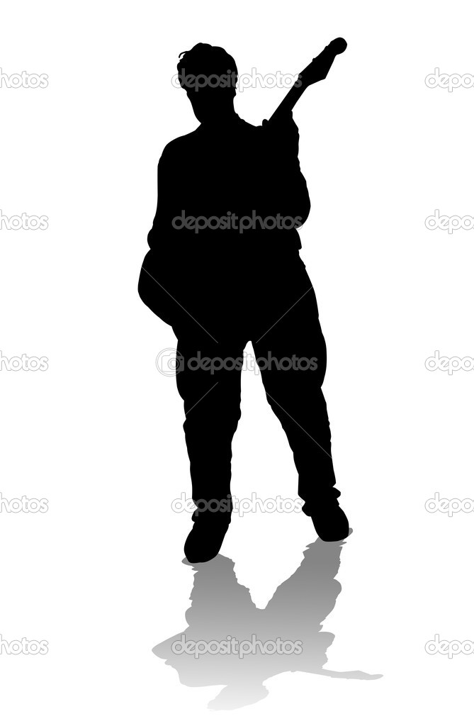 Black silhouette of a playing guitarist, on white background, with reflection — Stock Photo #2050060