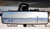 Paisagem no rearviewmirror — Foto Stock