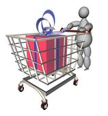 3d marionet met winkelwagentje met cadeau — Stockfoto