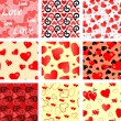 Seamless valentine patterns — Stock Vector
