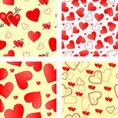 Seamless valentine patterns — Stock Vector