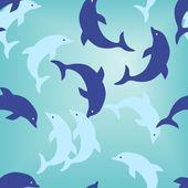 Seamless dolphin pattern — Stock Vector