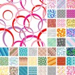 Many seamless retro patterns - Stock Vector