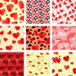 Seamless valentine heart patterns — Stock Vector