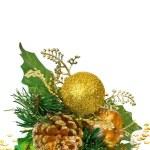jul dekoration - grön guld gren — Stockfoto