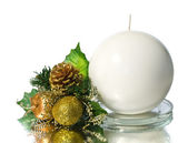 White candle with christmas decoration — Stock Photo