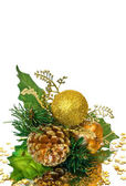 Christmas decoration - green gold branch — Stock Photo