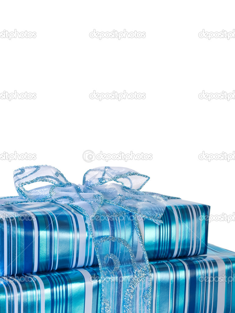 Blue glossy gift boxes decorated with a ribbon - vertical — Stock Photo #2113062