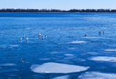 Blue lake covered with white ice — Stock Photo