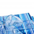 Blue gift boxes and a bow — Stock Photo