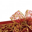 Shiny red gift box bow — 图库照片