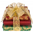 Foto Stock: Three wrapped gift boxes with ribbon