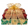 Stack of wrapped gift boxes — 图库照片