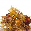 Christmas ornament - golden branch - Stock Photo