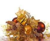 Christmas ornament - golden branch — Stock Photo
