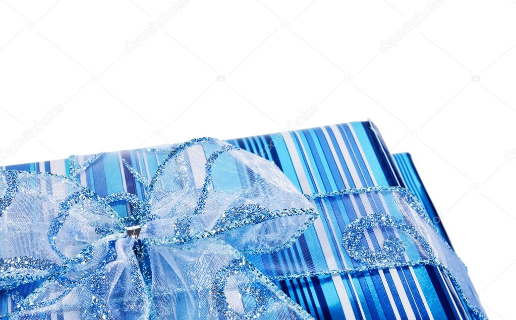 Blue striped gift boxes decorated with a blue bow — Stock Photo #2485997