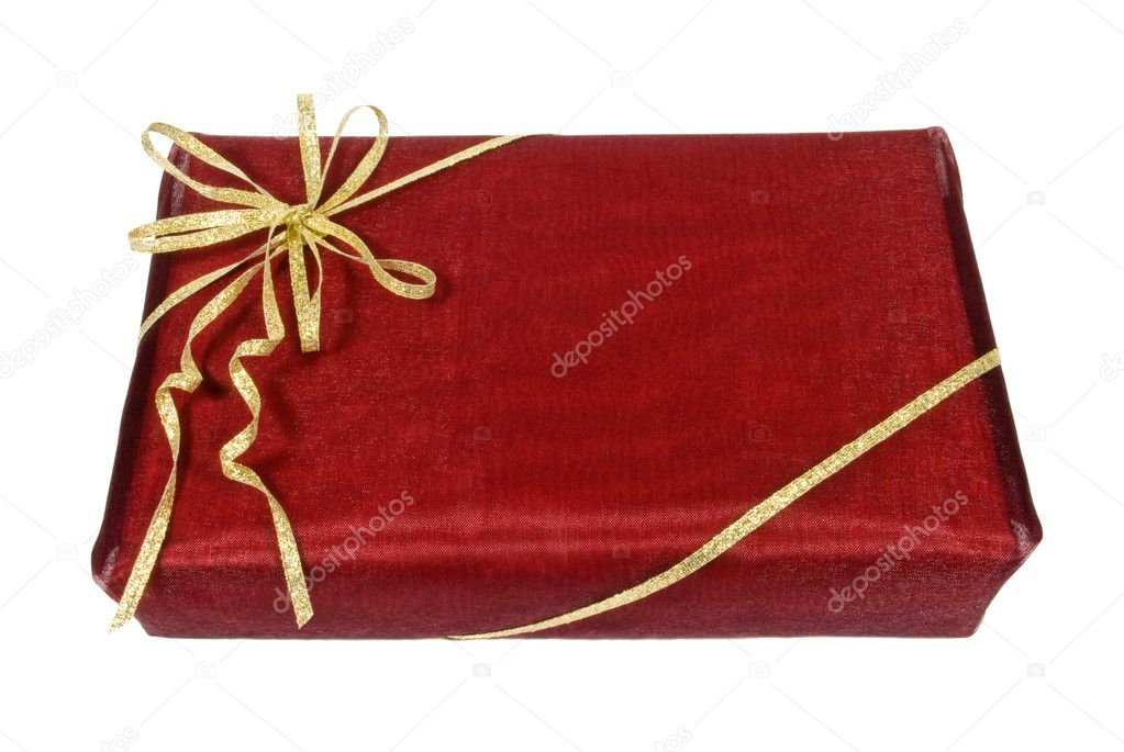 Wrapped dark red gift box with golden ribbon, clipping path   #2486806