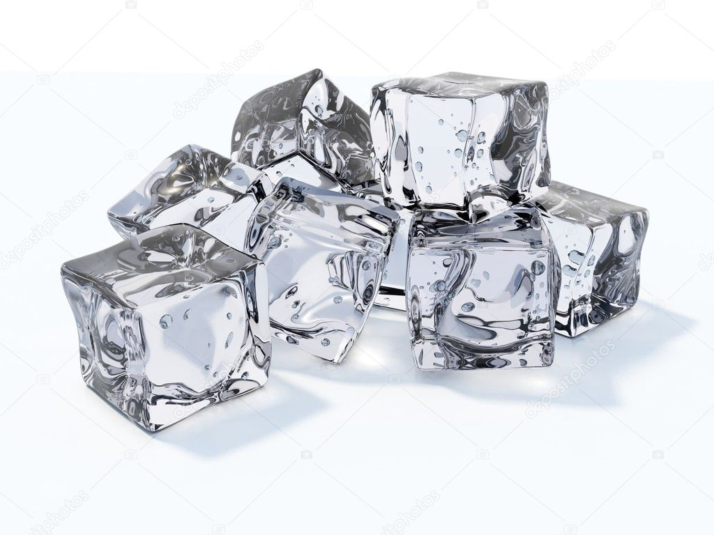 Ice cubes isolated on white — Photo #1993730