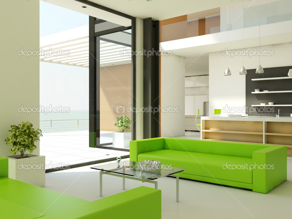 Light interior design with white walls and green couch  Stok fotoraf #2046434