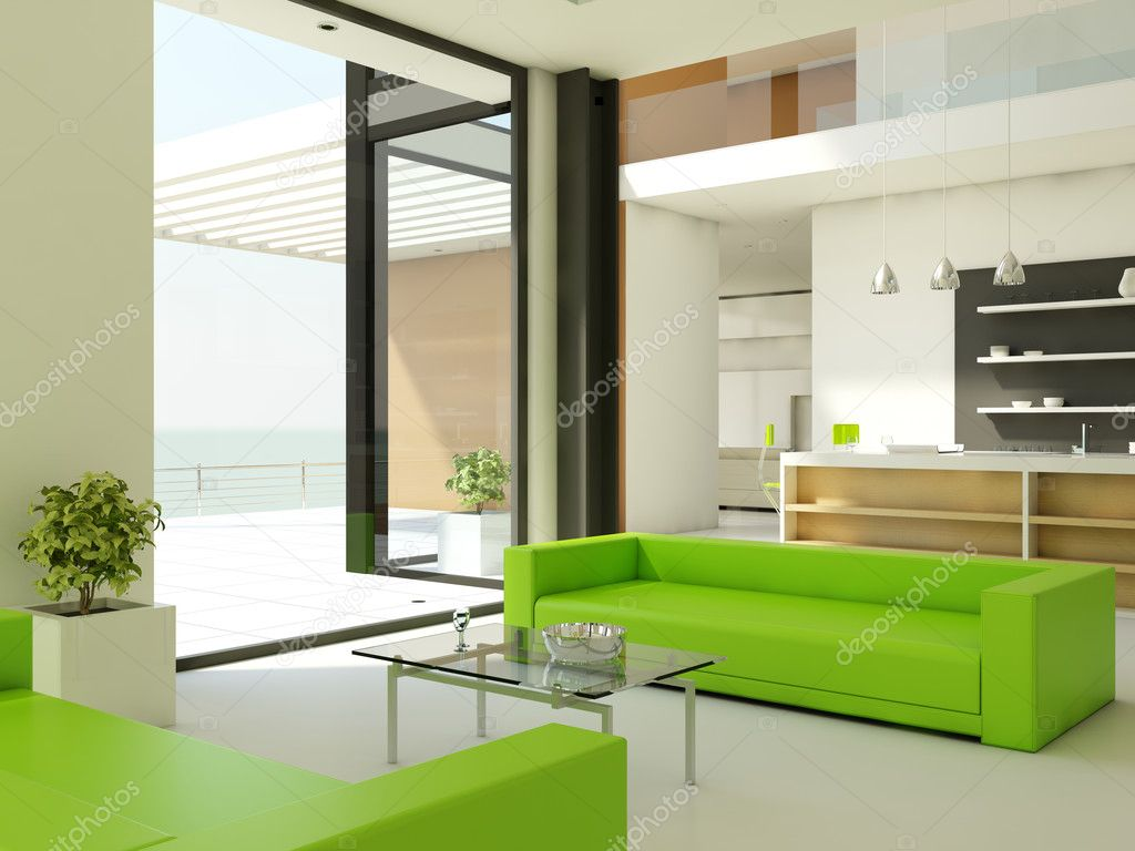 Light interior design with white walls and green couch — Zdjęcie stockowe #2046434