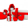 Stock Photo: Presents with red hearts