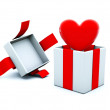 Present with red heart — Stock Photo