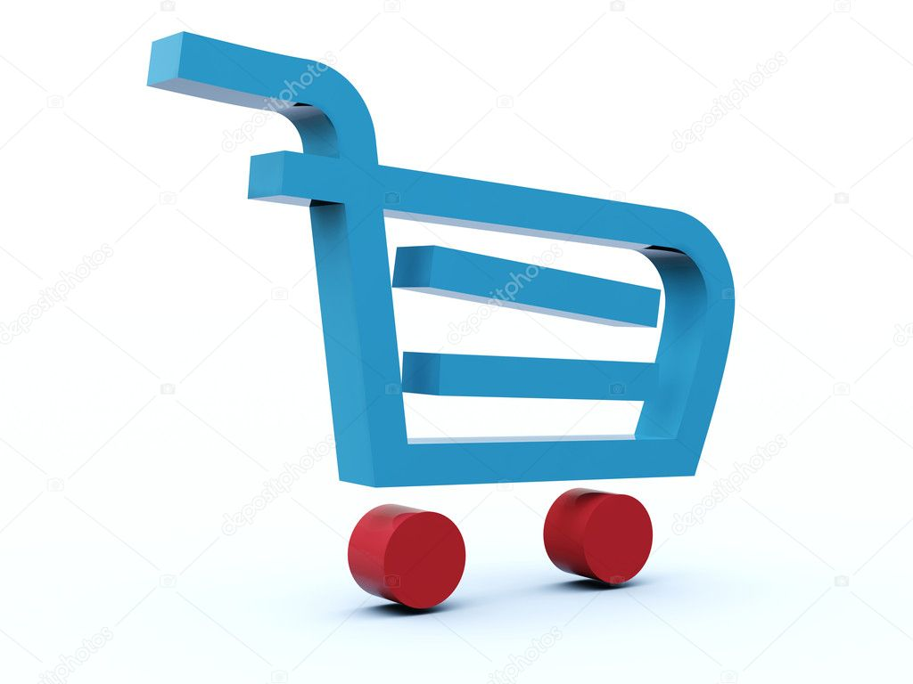 Shopping cart icon from blue and red series — Stock Photo #2061653