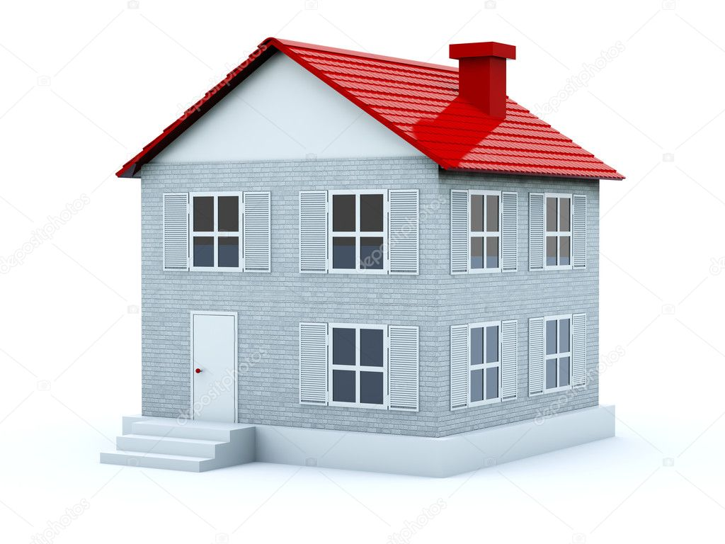 House with red roof isolated on white — Stock Photo #2066080