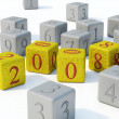 Stock Photo: 2008 New year gold bricks