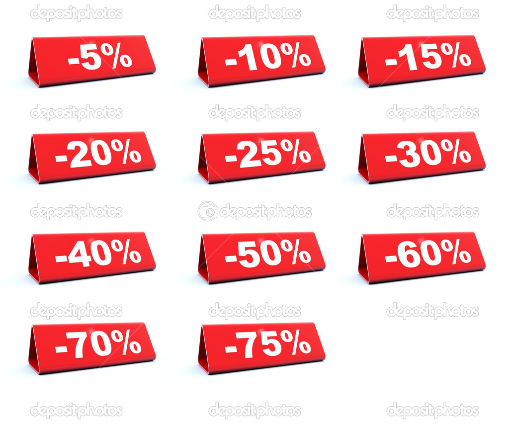 Discount red labels isolated on white — Stock Photo #2071345