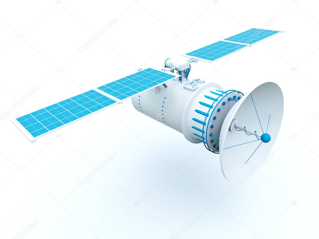 Satellite with blue elements isolated on white — Stock Photo #2071443